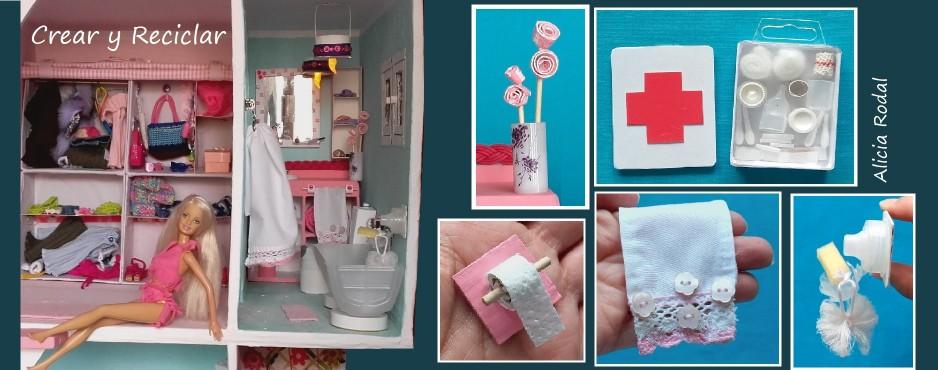Baño de casa de muñecas con reciclaje DIY  1