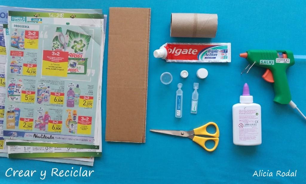 Materiales para miniaturas de productos para muñecas con reciclaje DIY
