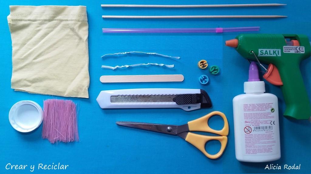 Materiales par miniatura equipo básico de productos de limpieza ESCOBA, RECOGEDOR, CUBO y FREGONA para muñecas DIY