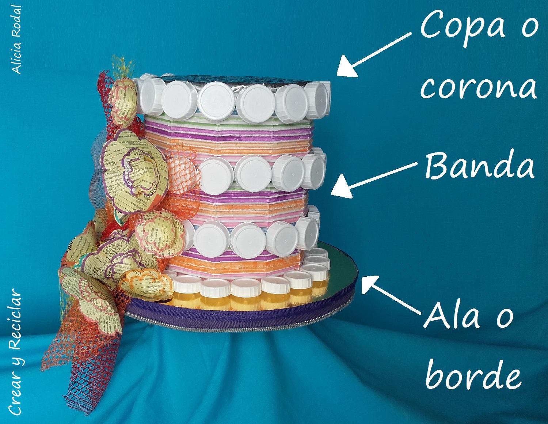 Tocado sombrero para carnaval con materiales reciclados DIY 005979b26df