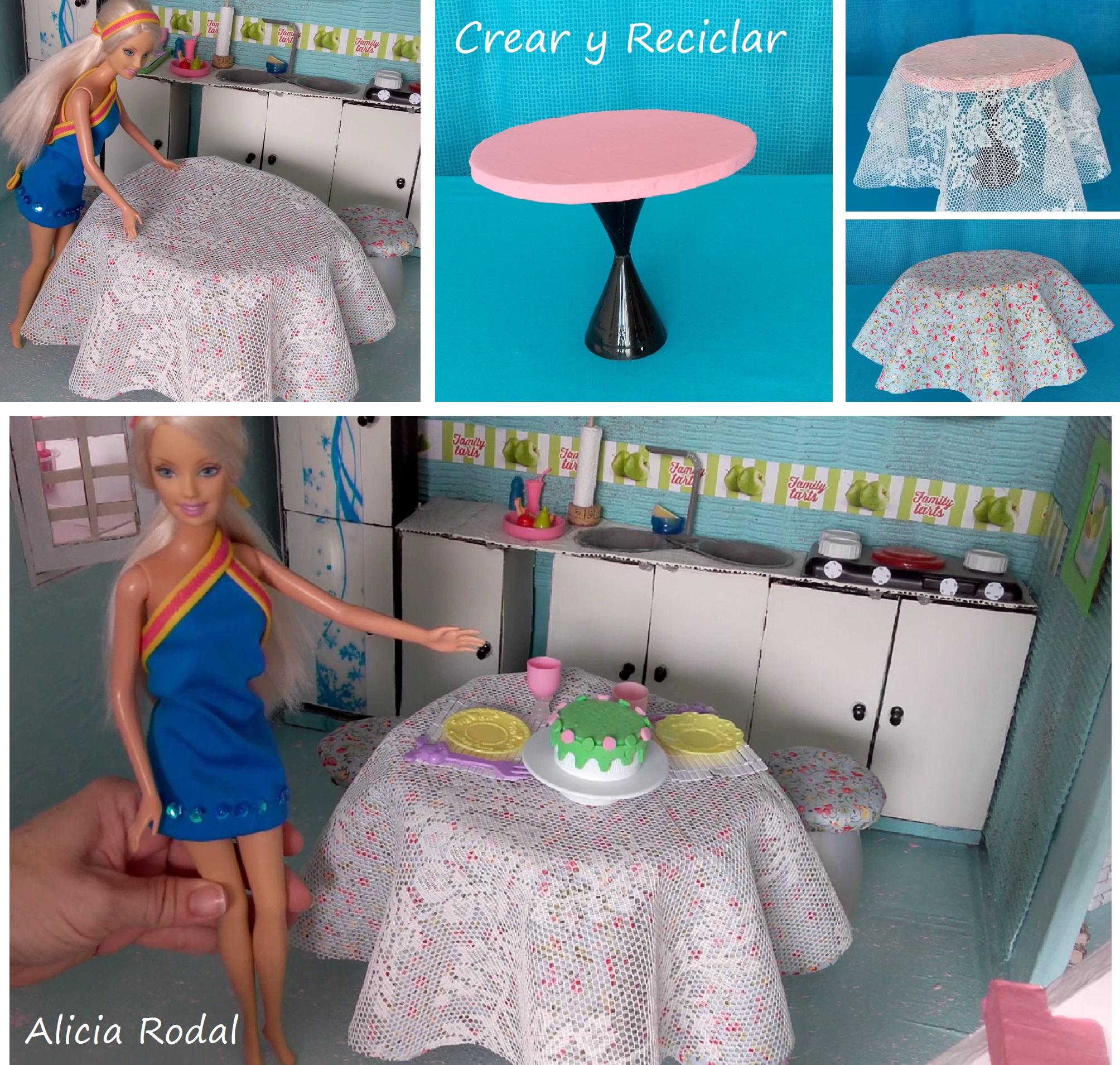 Mesa de comedor para muñecas con reciclaje DIY - Crear y Reciclar