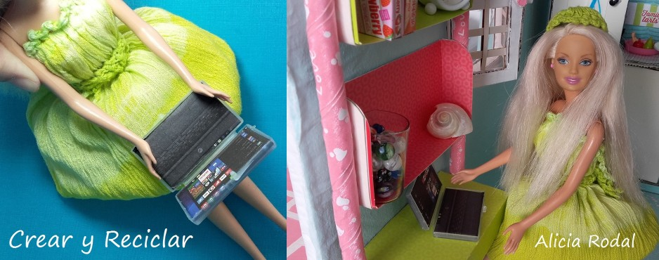 Mini ordenador portátil, laptop o computadora para muñecas. DIY.