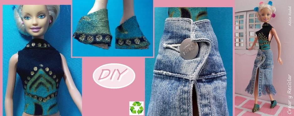 Conjunto hippie para muñecas con retales, top, falda flecos y botines. DIY