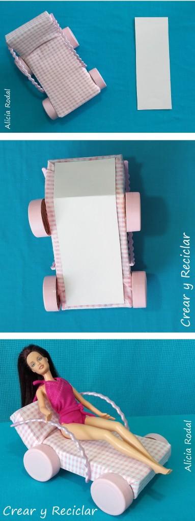 Tumbona o hamaca de piscina para muñecas DIY con reciclaje