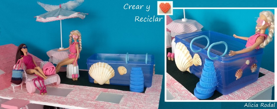 Piscina alberca pileta para muñecas con reciclaje DIY