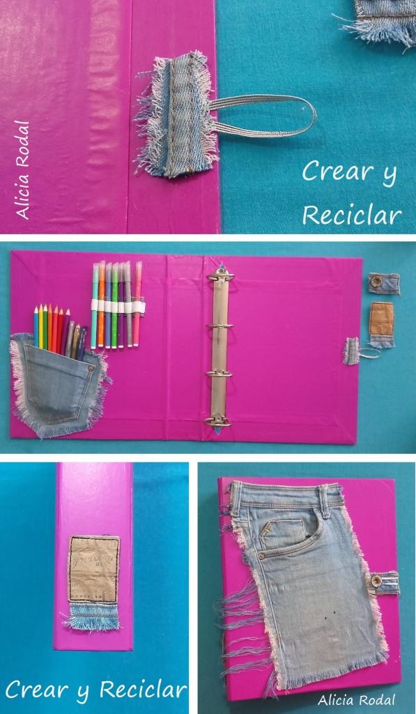 Cómo reutilizar una carpeta o cartapacio y decorarla al estilo universitario, con materiales reciclados. Fácil