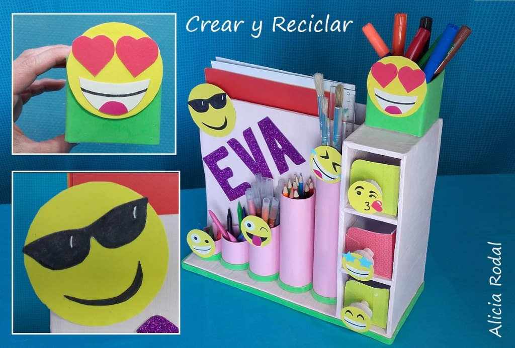 Organizador de escritorio con emojis personalizado DIY con reciclaje