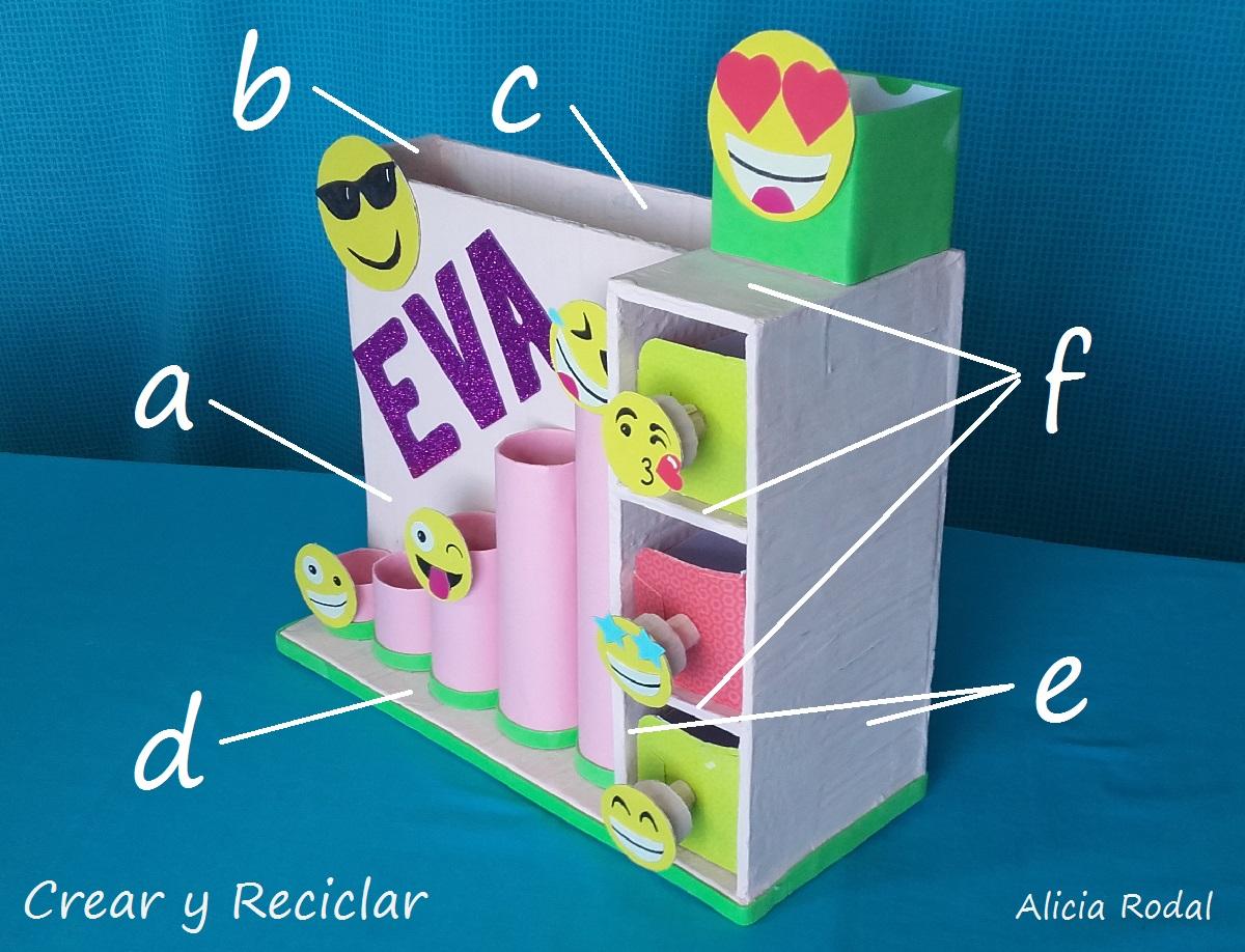 Organizador De Escritorio Con Emojis Personalizado Crear Y Reciclar