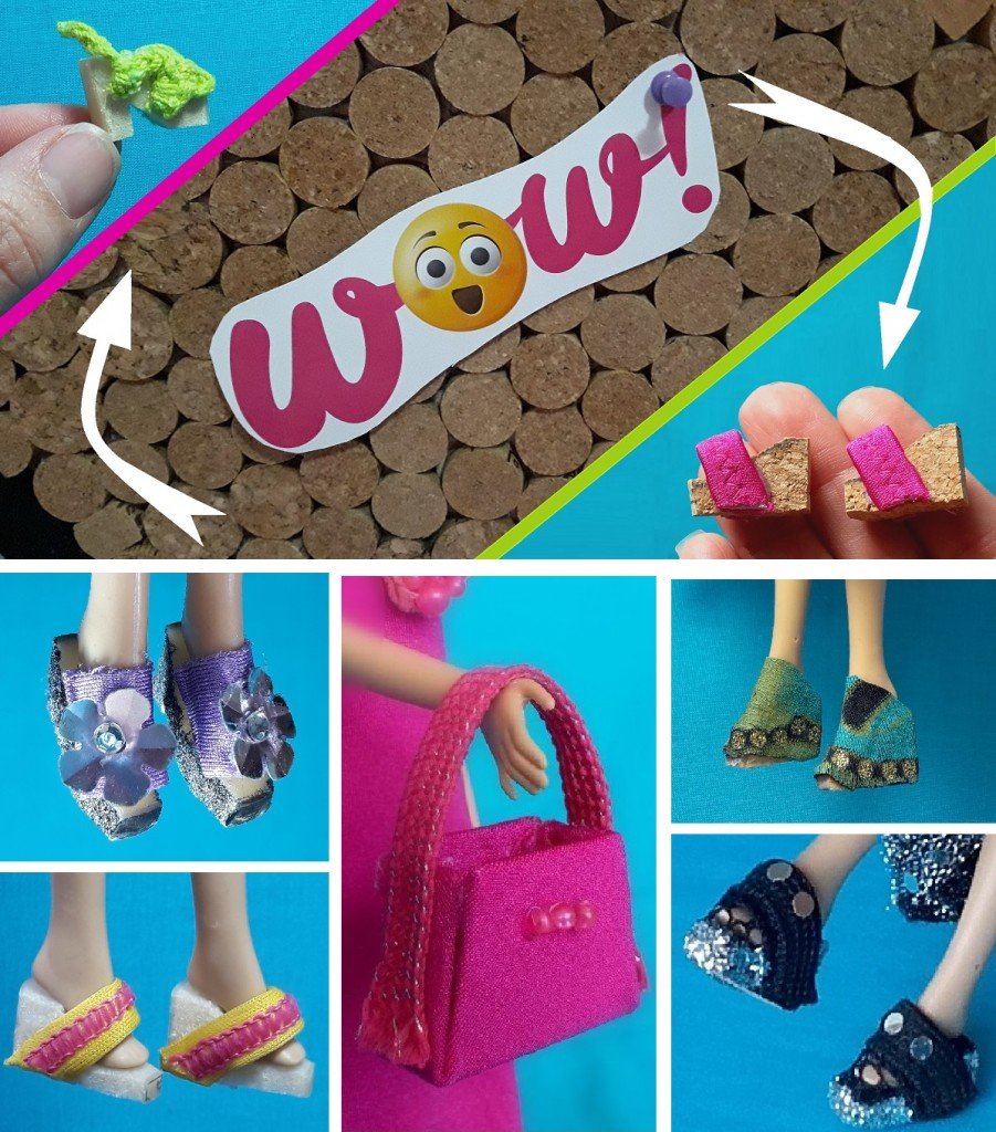Zapatos y bolsos para muñecas con retales DIY