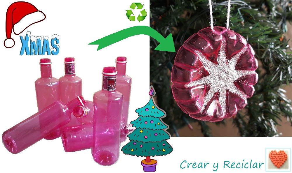 Figuras decorativas para el arbolito de Navidad con botellas de plástico