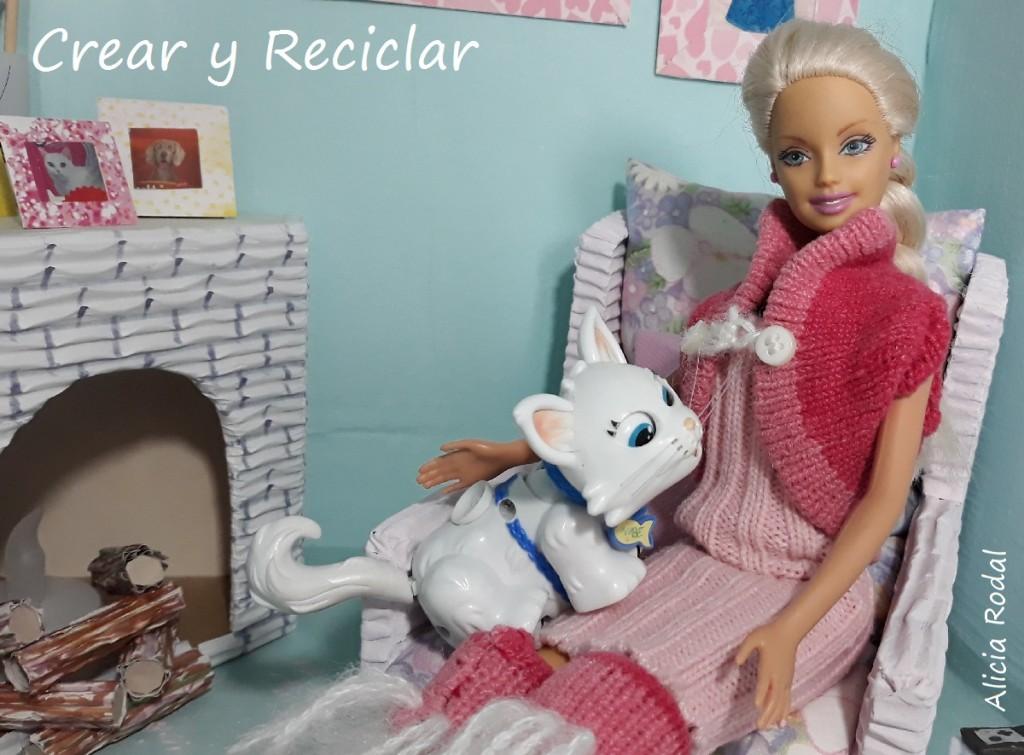 Conjunto ropa de invierno rosa: Botas, chaleco, gorro y guantes DIY con reciclaje