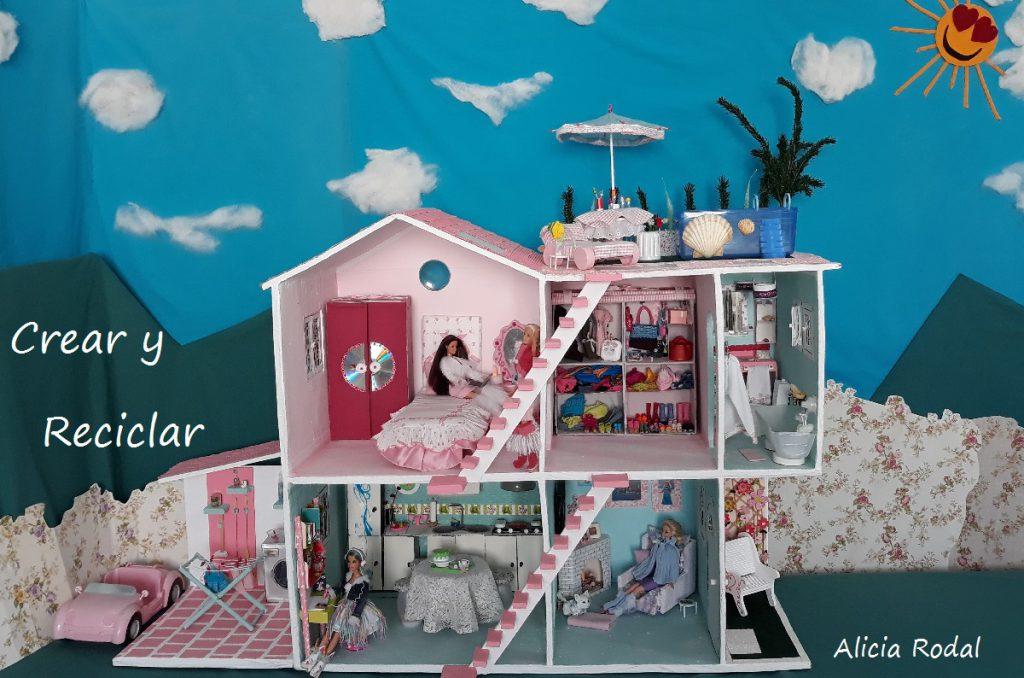 Pote plástico chimenea casa de muñecas en miniatura hazlo tú mismo techo
