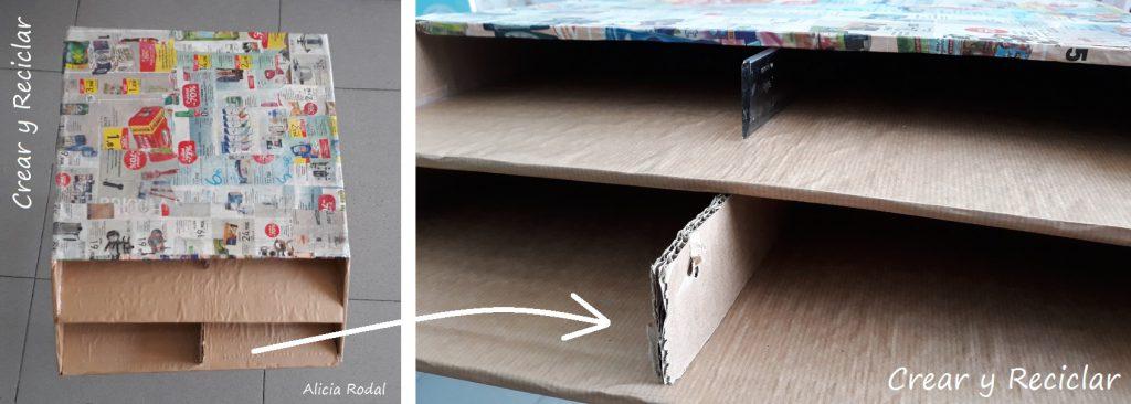 Como hacer un organizador de mesa 2 niveles de cartón horizontal