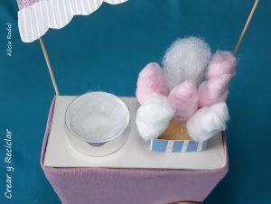 Cómo hacer miniaturas de algodón de azúcar (cotton candy) y el carrito de algodón de azúcar para la feria de muñecas DIY