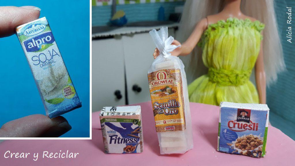 Mira qué fácil es hacer miniaturas de diferentes envases de comidas para el desayuno o las meriendas para tus muñecas, leche, cereales, pan y muchas ideas más.