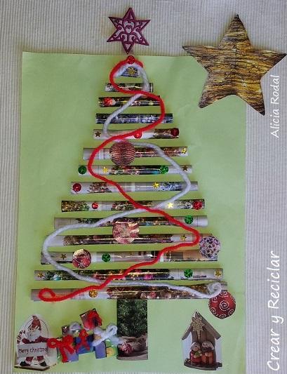 Cómo hacer una postal de Navidad muy creativa con papel de revista, como manualidad para la tarea del colegio de nuestros hijos... fácil y con material reciclado