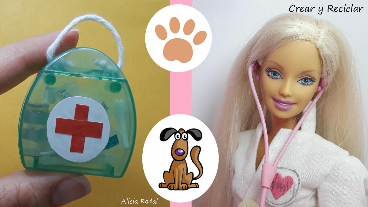 Ideas de miniaturas para Barbies, las muñecas y sus profesiones, Médica veterinaria, doctor de animales, fonendoscopio o estetoscopio y maletines.