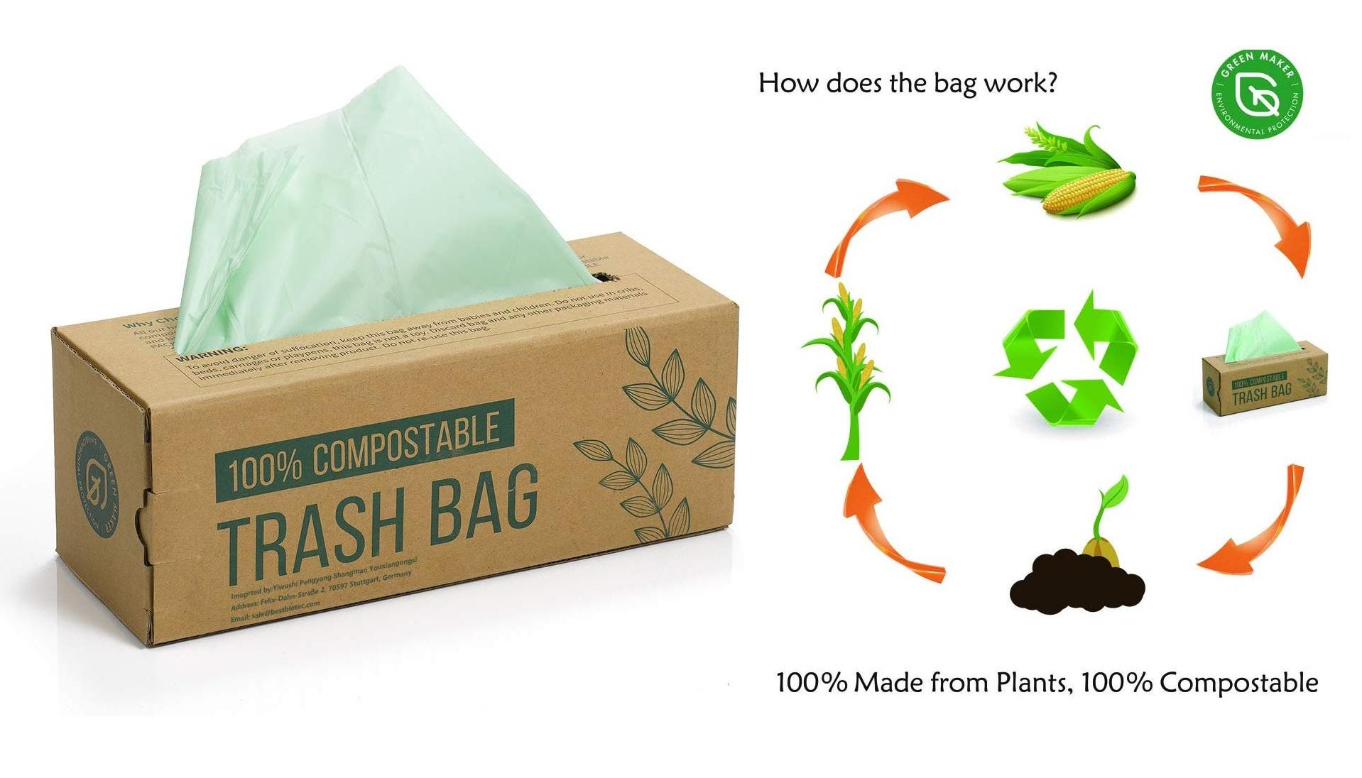 Ventajas y ofertas de bolsas 100% biodegradables y compostables, a base de almidón de maíz.