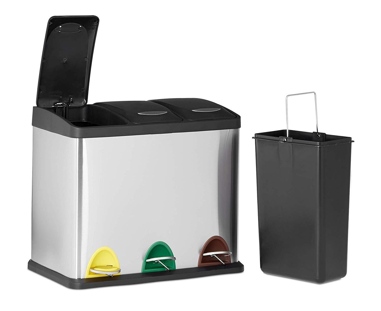 El mejor cubo para separar residuos en casa. Elegante, duradero, cómodo, práctico y funcional. Relaxdays 10022323 Cubo de Basura Reciclaje- 3 Compartimentos, 3 x 8L, Acero Inoxidable, Plateado, 40x48x28 cm