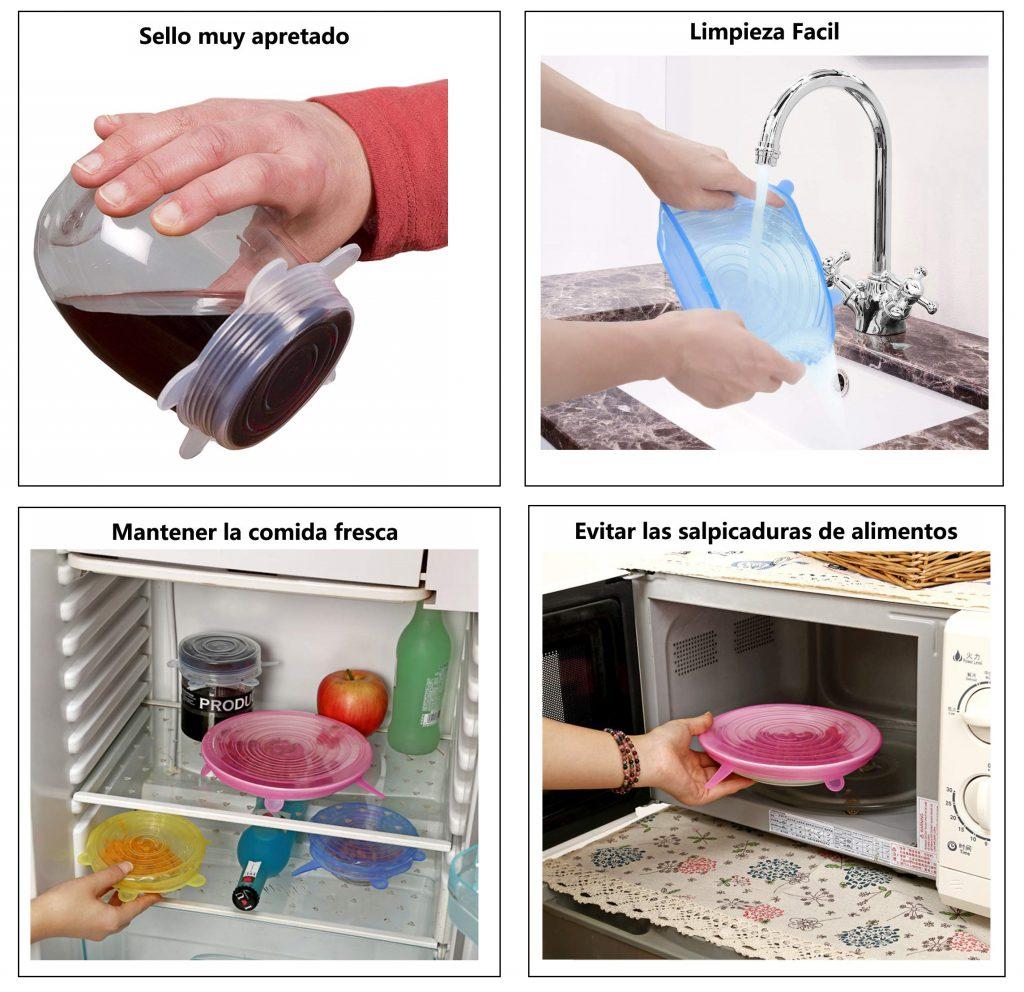 Ventajas y ofertas de las tapas de silicona elásticas Stone TH. Ajustables, reutilizables, lavables.