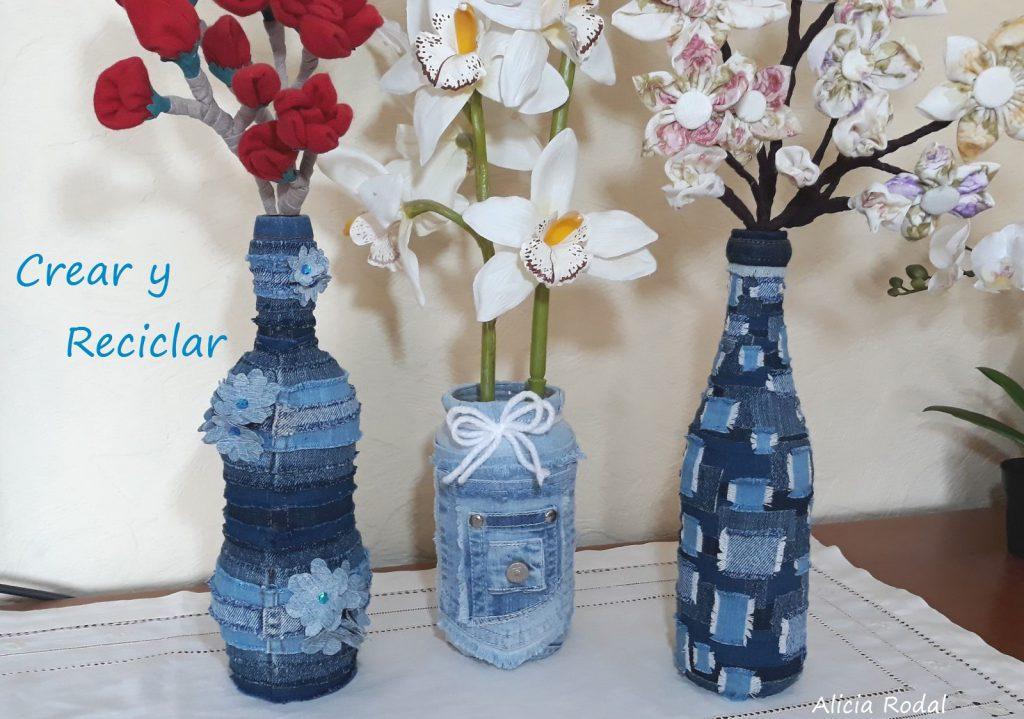 Decorar Botellas De Vidrio Con Jeans Crear Y Reciclar