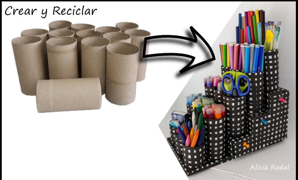Organizadores de escritorio con cartón y rollos de cartón de papel higiénico